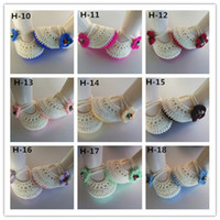 Wholesale Knitted Baby Shoe Flower - Factory Sale Classic Mary jane baby crochet shoes with flower newborn shoes toddler shoes girl knitted baby booties