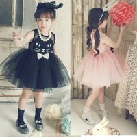 Wholesale baby kitty dress for sale - Group buy cat tutu girls dress summer baby girls cartoon cat lace dress princess tutu dress sleeveless Kitty cat dress in stock