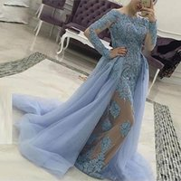 Wholesale nude tulle cocktail dress for sale - Group buy 2020 Luxury Light Sky Blue Evening Dresses Illusion Long Sleeves Lace Applique Beads Crystal Overskirts Celebrity Cocktail Party Prom Gowns
