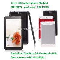 Wholesale Android Tablet Gsm 4g - 7 inch Tablet PC 3G Phablet GSM   WCDMA MTK6572 Dual Core 4GB Android 4.4 Dual SIM Camera Flash Light GPS Phone Call WIFI Tablet