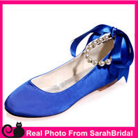 Wholesale Satin Shoe Pearl Ankle Strap - Women's Prom Evening Party Wedding Bridal Shoes Cocktail Vintage Comfy Flats for Bridesmaid Casual Formal Teen Girls Royal Blue Comfortable