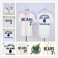 Wholesale Bond Movies - Bad News BEARS Movie Button Down Jersey 3#4#7#11#12#13#14#17#20#22#33#44#77 Bad News BEARS Chicos Bail Bonds Retro Baseball Jersey White