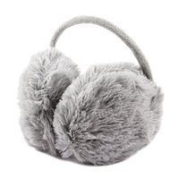 kabarık kulaklıklar toptan satış-Toptan-Unisex Kış Kafa Kabarık Faux Kürk Kulak Pad Geri Earmuffs Gri