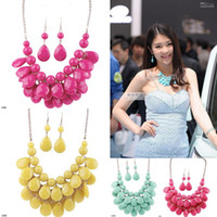 Wholesale Bubble Resin Necklace - Fashion Bubble Bib Statement Necklace Resin Alloy Beads Necklace&Earring Set Colors Choose GAM*1