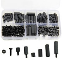 Wholesale Black Hex Screws - Free Shipping 160Pcs M3 Nylon Black M-F Hex Spacers Screw Nut Assortment Kit Stand off Set Box order<$18no track