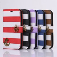 Wholesale Iphone4s Covers Leather - New Cute stripe Pirate Ship PU flip wallet card slot leather Case Cover mobile phone cases with stand For iphone4S 4C iphone5S iphone6 6S i6