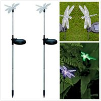 Wholesale Solar Dragonfly Lights - Wholesale-LED Solar Powered Path Light Garden Yard Lawn Butterfly dragonfly Shape Decoration Lamp Outdoor Lighting