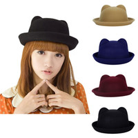 Großhandel-Fashion-Frauen-Winter-Devil-Hat-Cute-Kitty-Katze-Ears-Wolle-Derby-Bowler-Cap-Hot