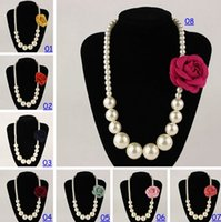 Wholesale New Fashion Nacklace - 2015 New Fashion Children's Fashionable Pearl Necklace Girls White Round Pearls Nacklace Decorated with Camellia Flower 8Color Choose Freely