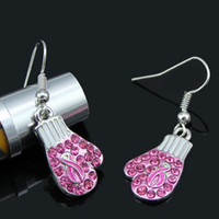 nachahmung schmuck kristall-box großhandel-Newst Breast Cancer Awareness Schmuck Ohrringe, Brustkrebs Pink Ribbon Fighting Box Handschuhe Ohrringe