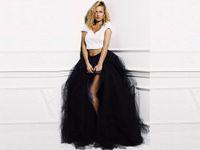 siyah mini tutu toptan satış-Seksi Tül Etekler Ön Bölünmüş Ruffles Kat Uzunluk Uzun Tutu Etek Custom Made Fabrika 2015 Siyah Moda Etek Yeni Tasarımcı