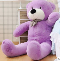 "Wholesale Teddy Bear 72 - New arrival 6.3 FEET TEDDY BEAR STUFFED LIGHT BROWN GIANT JUMBO 72"" 160cm birthday gift purple 5 colour choose"
