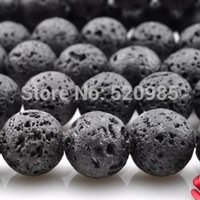 "Wholesale Agate Loose 8mm - Wholesale-4mm 6mm 8mm 10mm 12mm 14mm Natural Black Volcanic Lava Stone Round loose Beads Gemstone agate beads 15.5"" Pick Size"