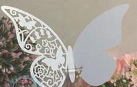 cartes de visite papillon achat en gros de-Cartes de verre de vin Décorations de fête de mariage Marqueurs de verre de vin Gâteau de mariage Toppers nom carte papillon laser Carte de coupe Carte d'escorte