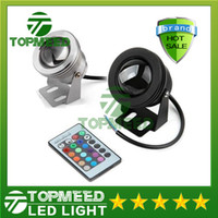 Wholesale Outdoor Dc Flood Light - IP65 10W RGB Floodlight light Underwater LED Flood Lights Swimming Pool Outdoor Waterproof floodlight lighting Round 12V 85-265V Convex Lens