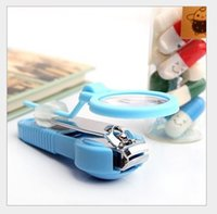 Wholesale Magnify Glass Nail - 2016 New Arrival Baby Care Nail Finger Magnifying Glass Clipper Trimmer For Old People Magnifier Nailclippers Nail Cutter