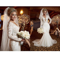 Wholesale V Neck Full Mermaid Wedding Dress - 2015 Spring Berta Sexy Lace Wedding Dress Bridal Gowns V-neck Stunning Lace Long Sleeve Full length Mermaid Wedding Gown