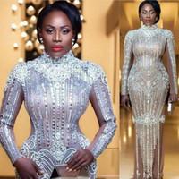 elmas yaka gece elbiseleri toptan satış-Yeni Kristaller Elie Saab Örgün Elbiseler Akşam Aşınma Yüksek Yaka uzun Kollu Rhinestones Balo Elbise Kat Uzunluk Artı Boyutu Kırmızı Halı Elbisesi