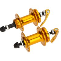 Wholesale 2 Aluminum Alloy Quick Release Bike Hub Holes Mountain MTB Front Rear Hub Bicycle Parts Gold Disc Brake Bearing Hubs