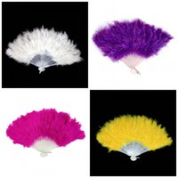 Wholesale Performance Fans - Women Feather Fan New Folding Hand Fans Lady Dance Performance Prop For Multi Colors Creative Gift 2 9hw C R