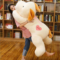 Wholesale Cartoon Heart Pillow - Latest Pop Cute Large 150cm Soft Cartoon Heart Dog Plush Toy Stuffed Animal Lying Dogs Doll Pillow Birthday Present 59inch