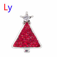 Wholesale Red Glass Christmas Tree - Hot Interchangeable Snap Buttons rhinestone Christmas Tree 18mm Glass Snap Button Charm Glass Button NOOSA Snaps Jewelry NOOSA chunk AC126