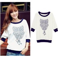 Wholesale Cute Half Sleeve Shirts - Spring New 2015 Cute Owl Animal Print Tracksuits Half Batwing Sleeve Sweatshirt Shirt Beading Hoodies Hoody Women Clothing