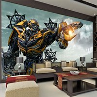 Wholesale Transformer Wall Stickers - Transformers Bumblebee Wall Mural Large wall art Photo Wallpaper Designer wall stickers Children's room Bedroom Custom Mural wallpaper