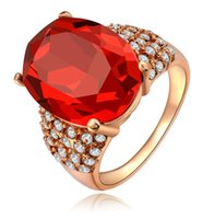 Womens Oval Shape Cut Prong Set Red Zircon Verlobung CZ Hochzeit Rose Gold Ruby Engagement Ringe Pave Crystal Band