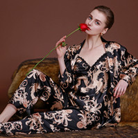 Wholesale Night Gowns Sleep - New Fashion Robe Gown Sets Of Sleep 3 Pieces per set Dragon Print Night Shirt Chinese Traditional Silk Satin Robe Embroidery