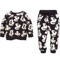 Wholesale Girls 2pc Set Casual - Spring Minnie Mouse Baby Girls Boys Sets Clothes Mickey Kids Long Sleeve Cartoon T Shirts+Casual Pants Trousers 2PC Tracksuit Costume