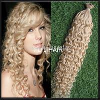 1g çubuk uçlu saç toptan satış-# 613 çamaşır suyu sarışın sopa I ucu İnsan Saç Uzantıları 1G / Strand Brezilyalı derin kıvırcık ben sopa ucu Keratin saç uzatma