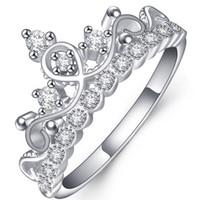 anéis de casamento ouro branco puro venda por atacado-PURO! 925 Sterling Silver Luxo 18 K Branco Sólido banhado a Ouro de Cristal Austríaco Zircon Gemstone Anéis de Casamento Noivado Princesa Anéis de Coroa