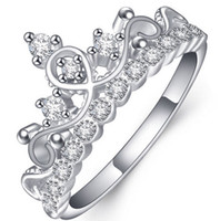 anillo de piedras preciosas 18k boda al por mayor-¡PURO! Plata de ley 925 Lujo 18K Oro blanco sólido chapado en cristal austriaco Circón Anillos de piedras preciosas Compromiso Boda Princesa Anillos de corona