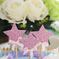 Atacado- Bowknot Colorful Shining Star Cake Toppers Cupcake Inserir Cartão Baby Kids Girl Birthday Wedding Party Decoration