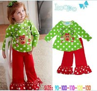 Wholesale Winter Wear Outfits - Toddler baby Christmas outfit girls deer style t-shirt + ruffle pants 2pcs sets children polka dot clothing kid spring fall wear outfit