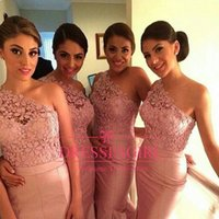 Wholesale Taffeta Purple Bridesmaid Dress Bridal - 2016 Cheap Pink One Shoulder Bridal Prom Evening Gowns Formal Dresses Taffeta Backless Christmas Party Dress Mermaid Lace Bridesmaid Dresses