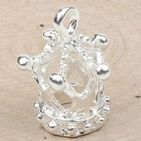Wholesale Diy Crown Charm - 80pcs lot 13X17mm Silver Plated Hollow 3D Imperial Crown Charms Pendants Jewelry Findings & Components Jewelry DIY