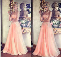 Wholesale Long Dresses For Prom Peach - 2014 Elegant Peach Long Evening Gowns Beaded Lace Appliques A-Line Floor-length Tulle Prom Gowns Formal Dress For 2015 Spring