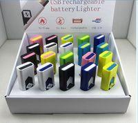 Wholesale cigarette lighter fuel resale online - USB Rechargeable Cigarette Lighter Electronic Cigarettes Lighter Windproof Flameless No Gas Fuel ABS Flame Retardant Plastic