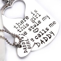 Wholesale Key Ring Chain Link - 2016 father's day Key Ring Necklaces Fashion Daddy's love for Daughter Letters Key Chain Pendant Alloy Drip Necklace 12pcs ZJ-0903485