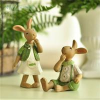 Wholesale Green Figurines - Miz Home 1 Piece Green Ornament Hand Rabbit Bunny Resin Figurine Gift For Friend Home Decor Micro Landscape Fairy Garden