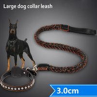 Wholesale Leather Chain Dog Leads - Large Big Genuine Leather Dog Chain Leashes German Shepherd Golden Retriever Dog Leash Lead Labrador Dog Collar Leash For Pet