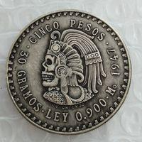 ingrosso zombie scheletro-Hobo Uncirculated 1947 Mexico 5 Pesos Argento monete straniere Copia teschio zombie scheletro Copia monete