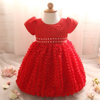 Wholesale linen lace wedding dresses - Wholesale- Newborn Baby Girl Christening Gown Kids Party Wear Dresses For Girl Wedding Baby Costume 1 Years Baby Birthday Red Dresses Girl