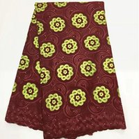 Wholesale wine colored lace fabric - 5 Yards pc New fashion wine african cotton fabric embroidery and yellow flower design swiss voile lace for clothes BC157-1
