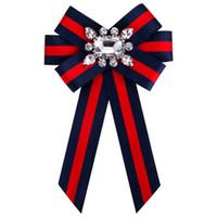 Wholesale Wholesale Ties China - New Woman Brooches Pin Ribbon Small Bowknot Shield Rhinestones Shirts Corsage Collar Bow Tie Crystal Fashion Jewelry Gifts