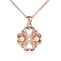 K Rose Gold Plated Collana Cuori Hollow Fiori Charms Zircon Collana Ciondolo Cristallo Rhinestone Romantico Anime Marca Stili