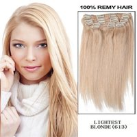 "Wholesale 22 Blonde Lightest - 20"" 22"" 24"" 26""160g pc 613# lightest Bleach blonde 100% human hair  brazilian hair clips in extensions full head"