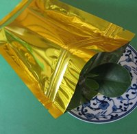 Wholesale Foil Bags Packaging - 100pcs lot 10*15cm Wholesale Golden Zip Lock metallic Aluminum Foil Ziplock Bags gold bags packaging pouch Free Shipping